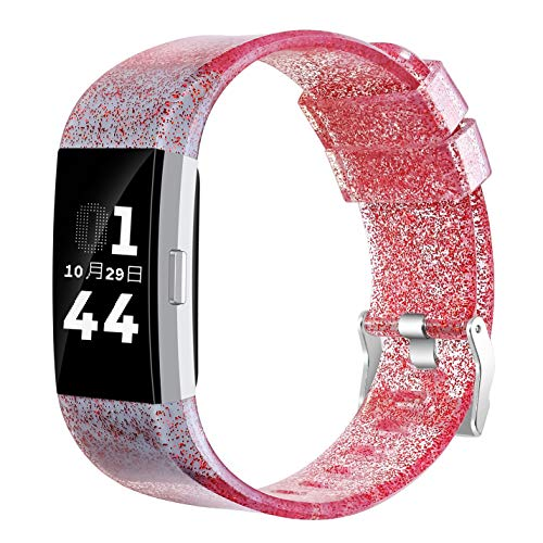 for Fitbit Charge 2 Strap, Adjustable Replacement Sport Accessory glitter powder Wristband for Fitbit Charge 2 Strap for Women (gray)