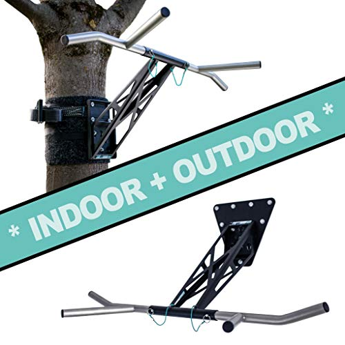 Pullup & Dip Pull Up Bar Dip Powder-Coated Steel Version INDOOR + OUTDOOR (wall and tree/post mount)