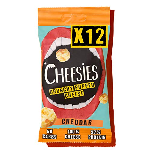 Cheesies Crunchy Popped Cheese Snack, Cheddar. No Carb, High Protein, Gluten Free, Vegetarian, Keto. Cheddar 12 x 20g Bags