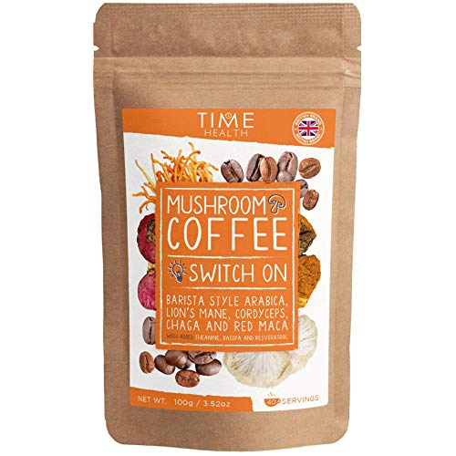 Mushroom Coffee Blend (Instant) - 100g - 40 Servings - Arabica Coffee, Lion's Mane, Cordyceps, Chaga, Red Maca, Theanine, Bacopa & Resveratrol - Natural Energy & Focus - Vegan - UK Made