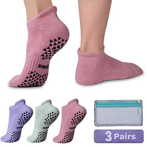 Hylaea Womens & Mens Non-slip Grip Socks for Yoga, Pilates, Hospital, Anti-Skid Slipper Barre Socks for Home Workout Sports