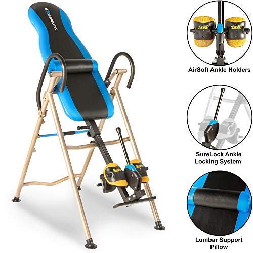 EXERPEUTIC Unisex Adult 175SL Inversion Table with 'Surelock' Safety Ankle Ratchet System and Lumbar Support - Black/Blue, N/A