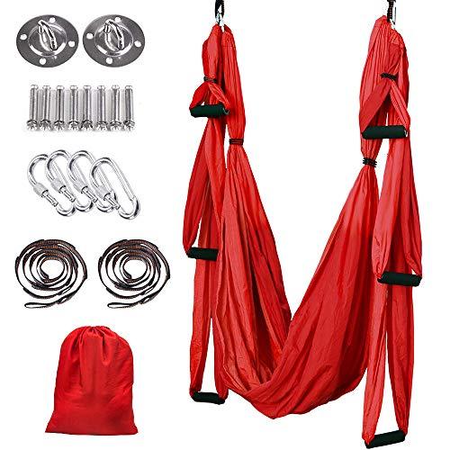 MelkTemn Aerial Yoga Hammock Trapeze, Aerial Yoga Swing Set, Ultra Strong Antigravity Yoga Hammock/Sling/Inversion Tool for Improved Yoga Inversions, Flexibility & Core Strength
