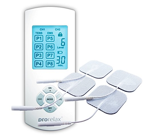 prorelax EMS & TENS machine DUO Comfort | 2-in-1 device for natural pain relief and muscle stimulation | for an effective treatment of back pain, arthritis, sciatica, sore muscles, incl. 4 electrodes