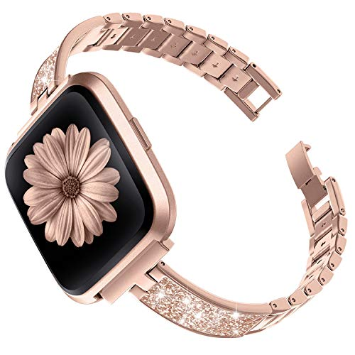 Ownaco Sport Slim Strap Compatible for Fitbit Versa 2 Straps Women Replacement Wristbands for Versa Lite Special Edition Chic Metal+Leather Design Accessories (Pink Gold for Versa 2)