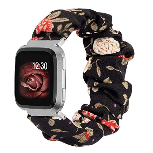 Ownaco Scrunchies Strap Compatible with Fitbit Versa Leisure Women Woven Black Red Floral Printed Elastic Fabric Cloth Strap Replacement Wristband Accessories for Fitbit Versa 2 Large Size