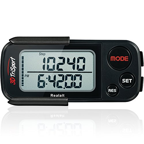 Realalt 3DTriSport 3D Pedometer, Accurate Step Counter with Clip and Strap (Black)