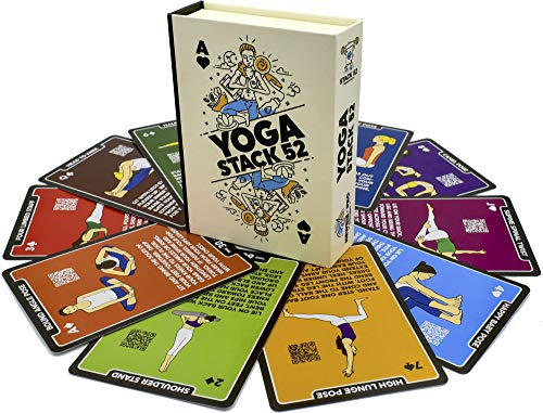 Stack 52 Yoga Exercise Cards: Designed by Certified Yoga Instructor. Video Instructions Included. Beginner to Advanced Poses and Asana Workout Games. Improve Fitness and Flexibility (Base Deck)