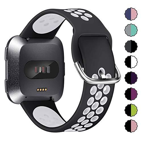 XIMU Strap Compatible with Fitbit Versa Strap/Versa 2 Strap/Versa Lite Strap, Silicone Adjustable Strap Sports Strap Bracelet Replacement Accessories for Women Men