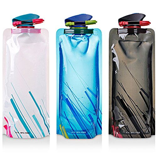 Foldable Water Bottle Pack of 3, Maxin Flexible Foldable Reusable Water Bottles For Hiking, Travel, Adventure, 700ml