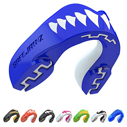 SafeJawz Mouthguard Slim Fit, Adults and Junior Gum Shield with Case for Boxing, MMA, Rugby, Martial Arts, Judo, Karate, Hockey and all Contact Sports ('Shark' Adults)
