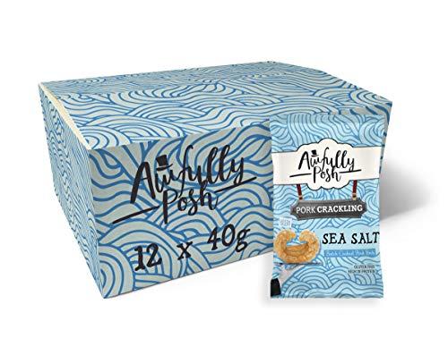Awfully Posh | Sea Salt Pork Crackling | Keto Snacks | 12 X 40G