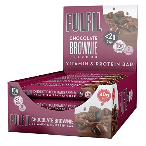 FULFIL Vitamin and Protein Snack-Size Bar (15 x 40g Bars) — Chocolate Brownie Flavour — Low Sugar, 15g High Protein, 9 Vitamins