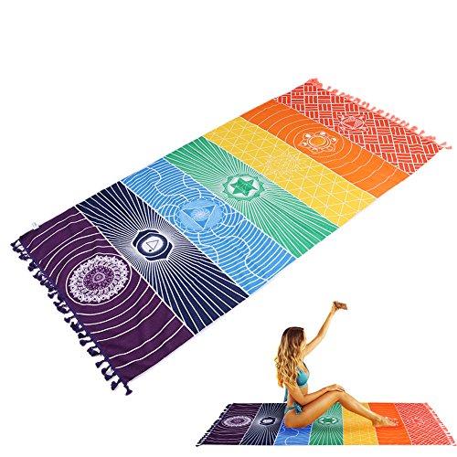YUMOMO Indian Tapestry Yoga Towel, 100%-cotton, Rainbow, 59' (150cm) long X 30' (75cm) wide
