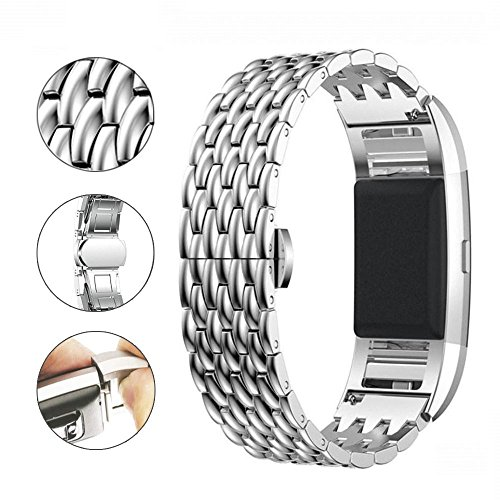 Aottom Compatible for Fitbit Charge 2 Strap Silver, Fitbit Charge 2 Strap Stainless Steel Metal Butterfly Buckle Bracelet Wristband Replacement Strap for Fitbit Charge 2 Fitness Tracker Accessories