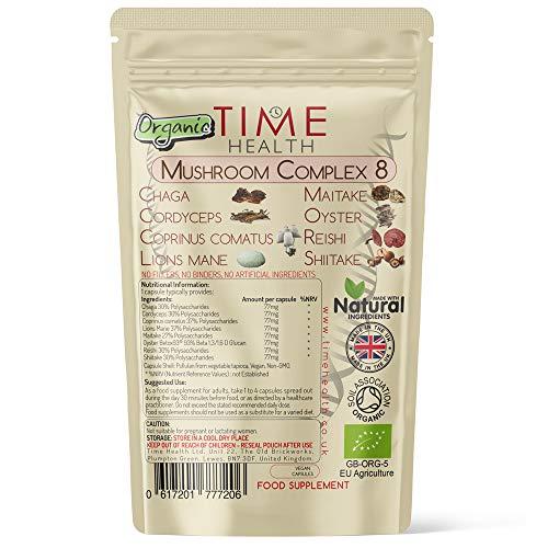 Mushroom Complex 8 | ORGANIC | 616mg Capsules | Lions mane, Cordyceps, Chaga, Shiitake, Reishi, Maitake, Coprinus & Oyster Betox93® | 40% Polysaccharides | EU Grown | UK Made | No Additives | Pullulan