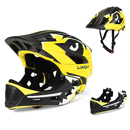 Lixada Kids Full Face Helmet Detachable Children Sports Safety Helmet for Cycling Skateboarding Roller Skating