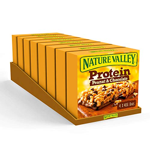 Nature Valley Protein Peanut & Chocolate Gluten Free Cereal Bars 4 x 40g (Pack of 8, total 32 Bars)