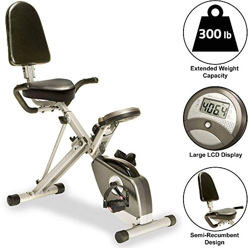 Exerpeutic (EXER6) Unisex Adult Exerpeutic 400XL Folding Recumbent Bike with Pulse Recumbent Exercise Bike - grey black, One size