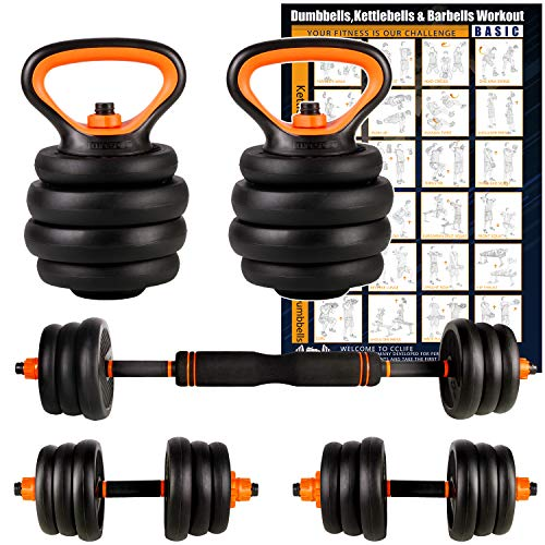 CCLIFE Adjustable Weights Dumbbells Set, Multifunctional Dumbbell &Kettlebell & Barbell Set for Home Gym Office Exercise and Strength Training, Colour:With Connecting Pipe. 2 x 12.5 KG