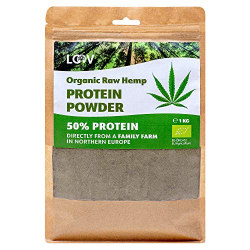 LOOV Organic Raw Hemp Protein Powder, 1kg, 50% Protein, Nutrients Preserved, Delicious Nutty Flavour, Organically Grown in Nordic Climate, Plant-Based Vegan Protein Powder, Non-GMO