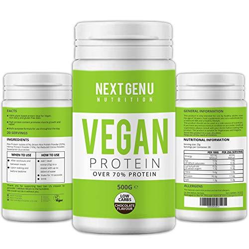 Next Gen U   Vegan Chocolate Protein Powder 500g   Over 70% Protein   Pea Protein Isolate Brown Rice Protein and Hemp Proteins Powders   Amino Acid Low Carbs Gluten Free Dairy Free Premium Nutrition