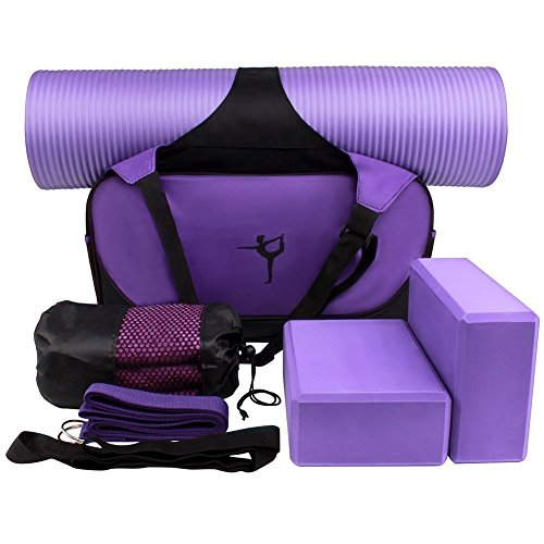 Alisa Yoga Starter Kit - 6 in 1 Set Essential Beginners Bundle Include Yoga Exercise Mat,Yoga Blocks,Yoga Strap,Yoga Towel And Carry Case For Yogis (Purple) (Yoga Starter Kit)