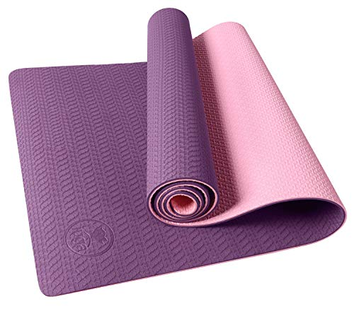 IUGA Non Slip Yoga Mat with Carry Strap, Eco Friendly & SGS Certified TPE material – Odorless, Non Slip, Durable and Lightweight, Dual Color Design, Thickness 6mm