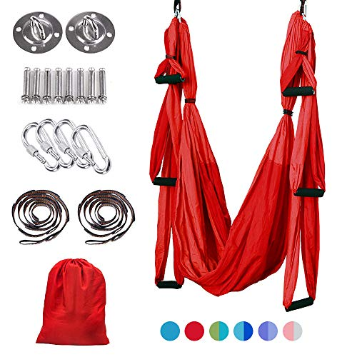 MelkTemn Aerial Yoga Hammock Trapeze, Aerial Yoga Swing Set, Ultra Strong Antigravity Yoga Hammock/Sling/Inversion Tool for Improved Yoga Inversions, Flexibility & Core Strength