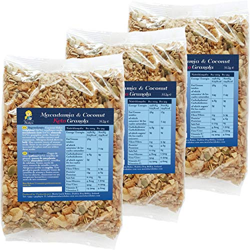 Macadamia & Coconut Keto Granola - Low Carb - No Gluten - No Added Sugar, Salt or Palm Oil - High Fibre - Healthy & Natural Breakfast Cereal - LCHF - 3 x 312g - by Maria Lucia Bakes