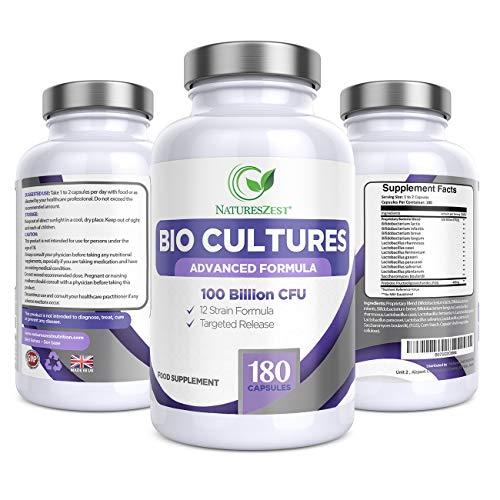Natures Zest 100 Billion CFU Bio Cultures Probiotics with Prebiotics 180 Capsules Highest Strength 12 Strain Ultra Formula for Adults (Men/Women) Food Supplement – 6 Months' Supply