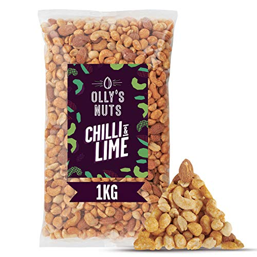 OLLY'S Nuts: Chilli & Lime Mixed Nuts (1kg Bulk Mix) - Almonds, Cashews & Peanuts - High Protein Snacks - Vegan - High Fibre - Bulk Pack of 1kg