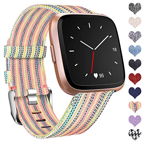 Ouwegaga Compatible with Fitbit Versa Strap/Fitbit Versa 2 Strap, Woven Bands Replacement Sport Wristband Compatible with Fitbit Versa/Versa Lite Large, Colourful