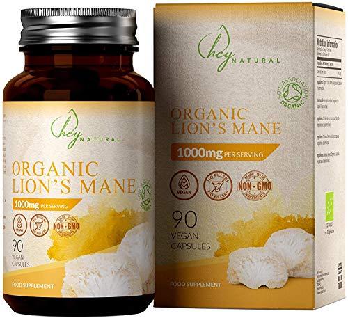 HN Organic Lions Mane Mushroom 1000mg Capsules | 90 Lion's Mane Mushrooms Vegan Tablets | Soil Association Certified | Immune System Booster | Nerve Growth Factor | Memory, Concentration Supplement