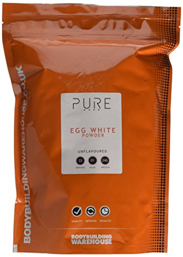 Pure Egg White Protein Powder (Paleo, Keto) - 24g Protein Per Serving - Unflavoured 1kg | Bodybuilding Warehouse