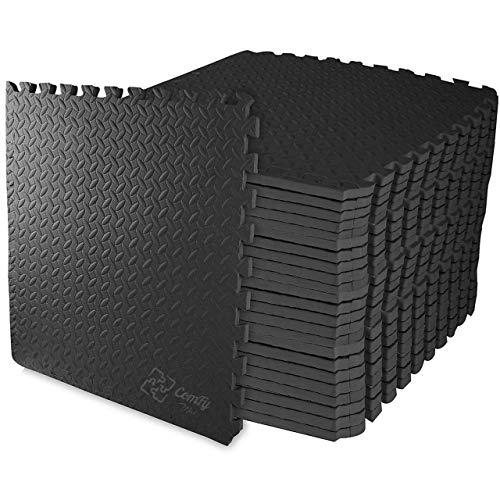 ComFy Mat Foam Exercise Mats, Gym Flooring Mat, Interlocking Puzzle EVA Floor Tiles, Non slip Rubber Cushion For Home Workout, Yoga matting, Bonus Adhesives,24'X24'(60cmX60cm)