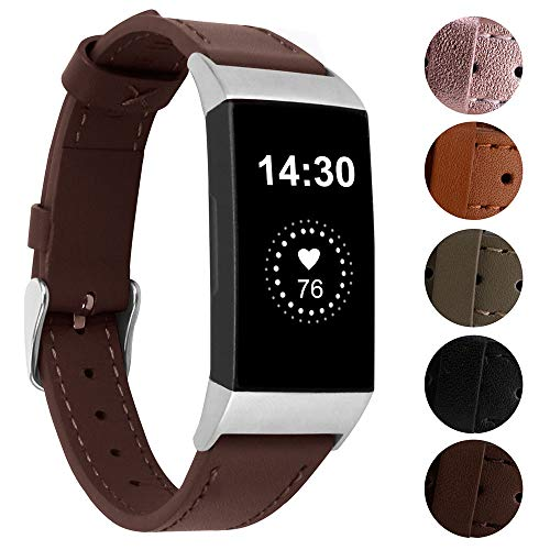 Nigaee for Fitbit Charge 4/3 Strap Charge 4/3 SE Band, Genuine Leather Adjustable Replacement Watchband Fitbit Charge 4 Sport Wristband for Fitbit Charge 3 Fitness Accessories Women Men