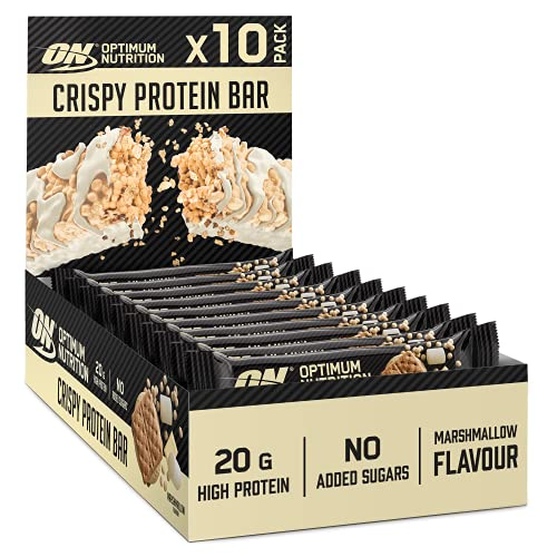 Optimum Nutrition ON Crispy Protein Bars, High Protein Vegetarian Snacks, No Added Sugar, Marshmallow flavour, 10-Pack, 10 x 65 g, Packaging May Vary