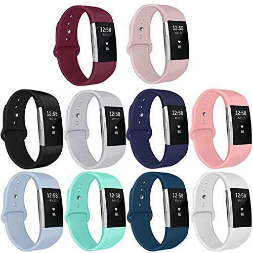 Kmasic Compatible for Fitbit Charge 2 Strap, Soft Silicone Replacement Strap Adjustable Sport Bands Wristband Accessories for Fitbit Charge 2 fitness Smartwatch, Women Men, Small Large