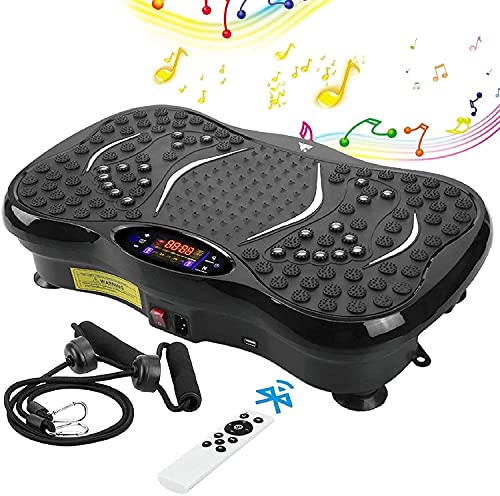EVOLAND Vibration Power Plates, Vibration Plate Machine with Bluetooth Speaker, 5 Program Modes, 2 Resistance Bands, Vibration Fitness Trainer For Weight Loss & Body Toning, 330lb Max Load (B)