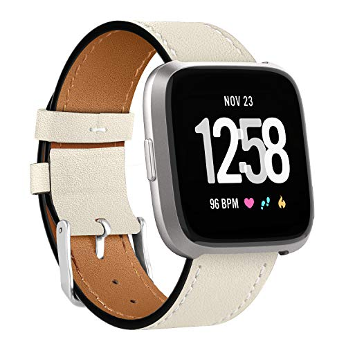 WASPO Compatible for Fitbit Versa 2 Strap, Genuine Elegant Leather band with Quick Release Pin Compatible with Fitbit Versa 2/ Fitbit Versa/Fitbit Versa Lite Edition, Small Large Men Women