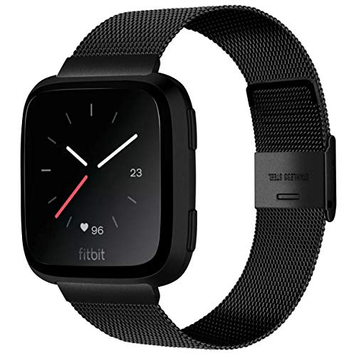 Alfheim Wrist Strap Compatible with Fitbit Versa / Versa2 / Versa Lite - Fashion Simple Adjustable Ultra-Thin Stainless Steel Metal Bands with Safe Buckle for Men Women