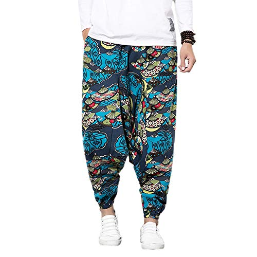 Men's Harem Pants with Printed, Unisex Harem Pants in with Pocket Baggy Bloomers Yoga Dance Beach - Men's Bloomers Aladdin Pants Harness Yoga Goa Pants Baggy Casual Trousers