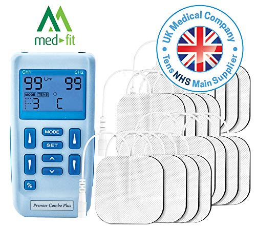 Premier TENS Machine by Medfit, Fully Rechargeable Dual Channel Tens and Muscle Stimulator with 30 Pre-Set Programs for TENS Pain Relief, Muscle Strengthening, Massage and Relaxation