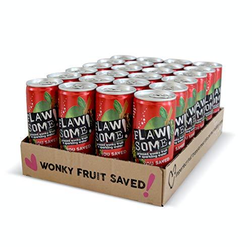 Flawsome! Drinks - Lightly Sparkling Juice – No Added Sugar 100% Pressed Fruit Juice Water - Fizzy Fruit Drink - Low Calorie Healthy Soda Alternative (Apple & Rhubarb 24x250ml)