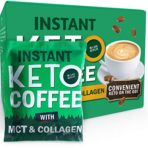 Effective Low Carb Sugar Free Keto Slimming Instant Coffee with Pure MCT, Collagen, Erythritol - Keto Coffee Sachets Ideal for Low Carb, Ketogenic Diet, Keto Snacks and Balanced Weight Loss