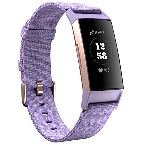 KIMILAR compatible with Fitbit Charge 3 / Charge 4 Strap for Women Men, Replacement Nylon Woven Band Fabric Strap compatible with Fitbit Charge 4 & Charge 3 & SE Fitness Tracker, Lavender