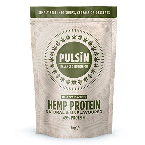 Pulsin Natural Unflavoured Plant Based Vegan Hemp Protein Powder 1 kg (Gluten Free / Palm Oil Free / Dairy Free)