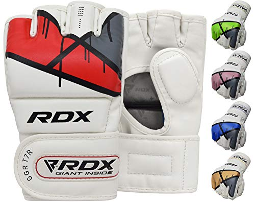 RDX MMA Gloves for Grappling Martial Arts, D-Cut Open Palm Maya Hide Leather Mitts, Good for Kickboxing, Sparring, Muay Thai, Cage Fighting, Punching Bag and Combat Training