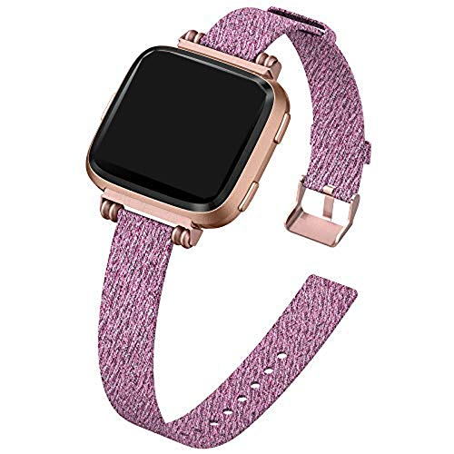KIMILAR Strap compatible with Fitbit Versa/Versa 2 / Versa Lite for Women Men, Metal Beading Square Buckle Slim Breathable Fabric Band Strap for Versa/Versa 2 / Versa Lite/SE, Mae Purple